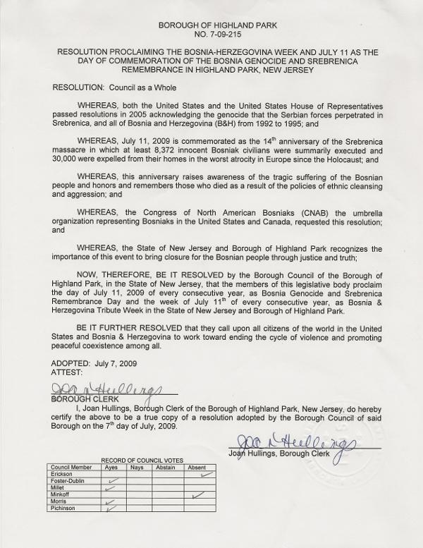 Borough of Highland Park Resolution on Bosnian Genocide