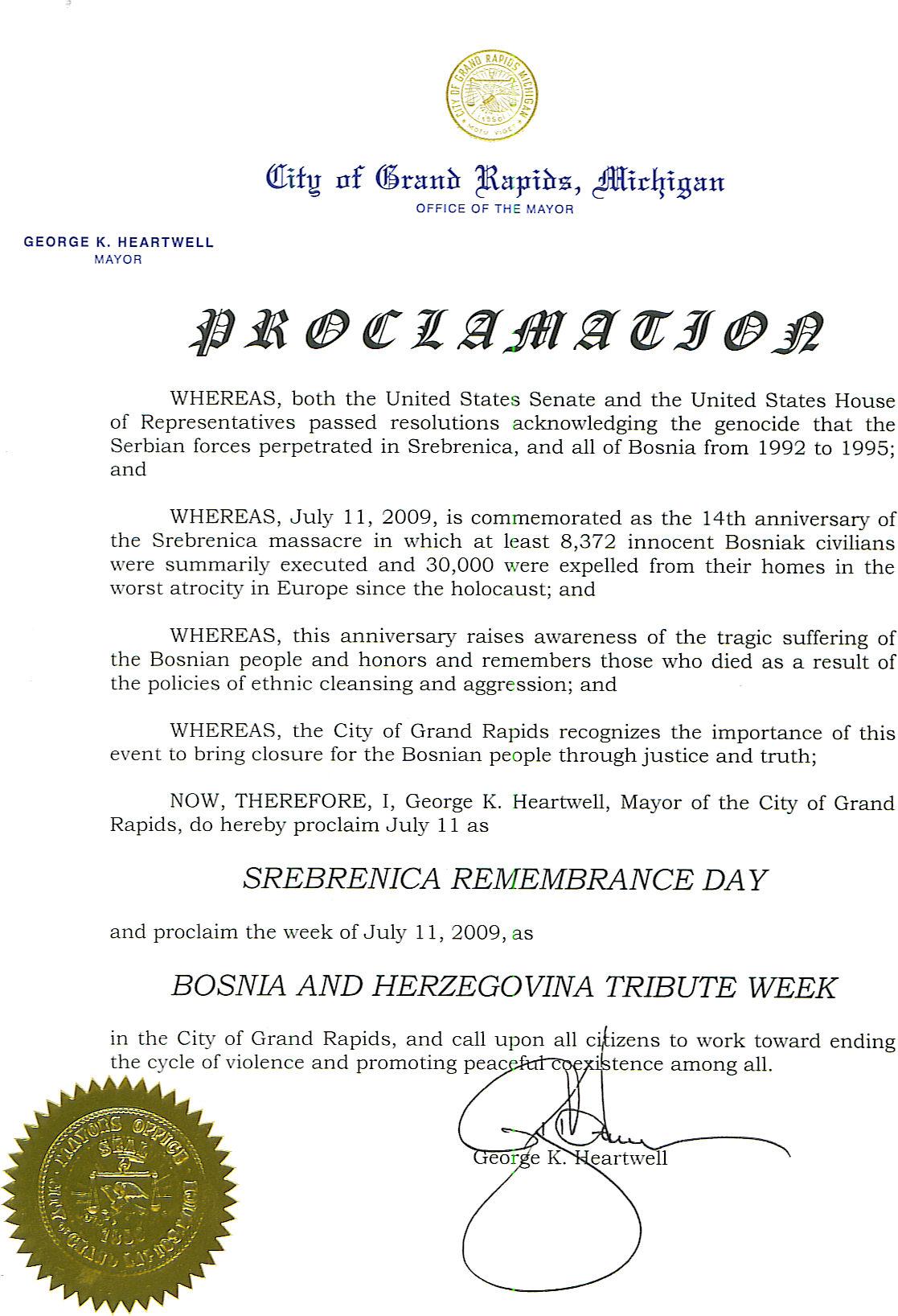 City of Grand Rapids, Michigan Proclaims Srebrenica Remembrance Day
