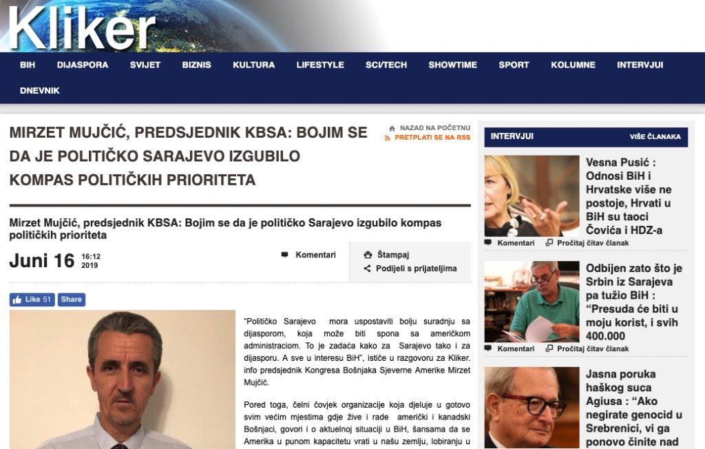 Predsjednik KBSA – intervju -Sarajevo izgubilo kompas političkih prioriteta