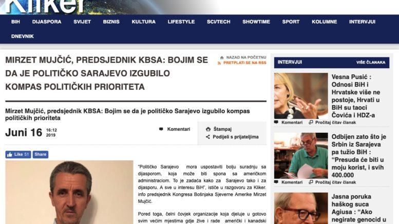 Predsjednik KBSA - intervju -Sarajevo izgubilo kompas političkih prioriteta